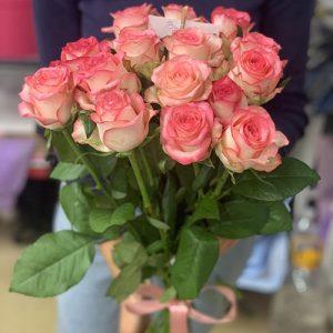 15 ніжних біло-рожевих троянд фото