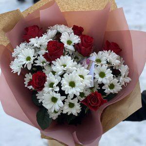 Букет Подаруночок троянди та хризантеми