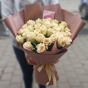 Букет 51 кремова троянда фото