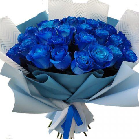 33 сині троянди (фарбовані)