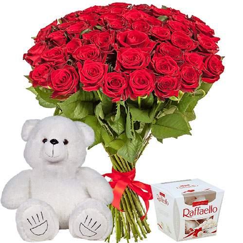 """51 троянда, ведмедик і """"Raffaello"""" фото подарунка"""