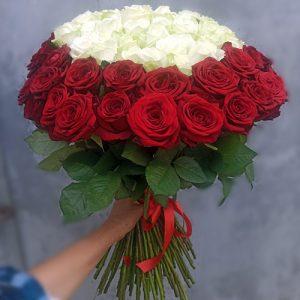 Букет у вигляді серця 101 троянда фото