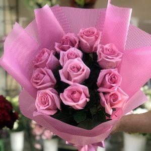 Букет 11 рожевих троянд фото