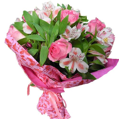Рожевий колір троянди та альстромерії