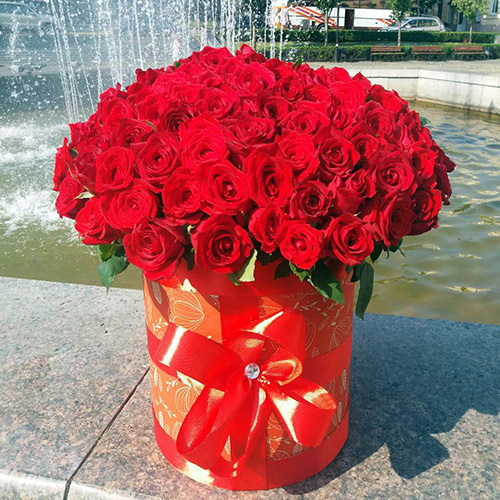 фото букета 101 червона троянда в коробці