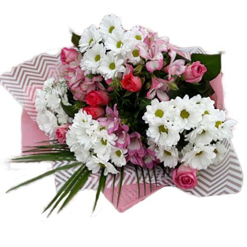 """Букет """"Сюрприз для дружини"""" хризантеми, троянди та альстромерії"""