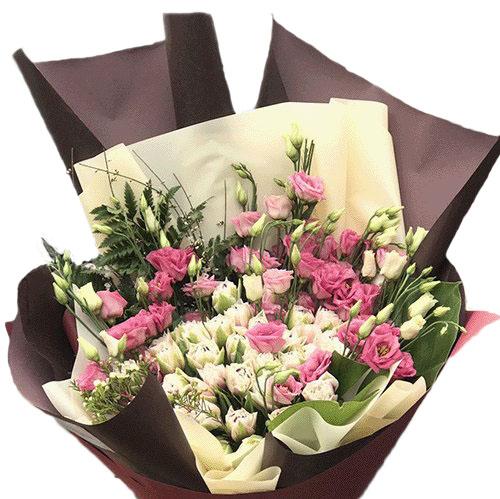 букет Кущова троянда з еустомою фото